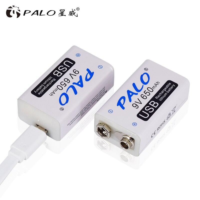 PALO 9V batterie 6F22 650mAh Li-Ion akku 9 volt lithium-für Multimeter Mikrofon Spielzeug Fernbedienung KTV verwenden
