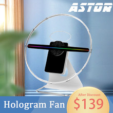 30cm 3D hologram fan led hologram fan desk display 3D led fan holographic display fan screen with cover portable power source(China)