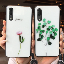 For Huawei Honor Play 4t Pro 3 Case peony flowers leaves Hard Tempered Glass back silicone Cover For Honor Play 3 4t magic 2 4t