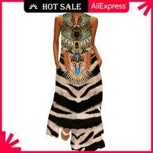 Movokaka tigre vintage vestido de impressão 2021 v pescoço casual plus size vestidos longos verão mulher sem mangas menina praia maxi vestido