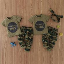 Летняя одежда для маленьких мальчиков и девочек, армейский зеленый топ с короткими рукавами и буквенным принтом + камуфляжные брюки, 2 шт., Од...