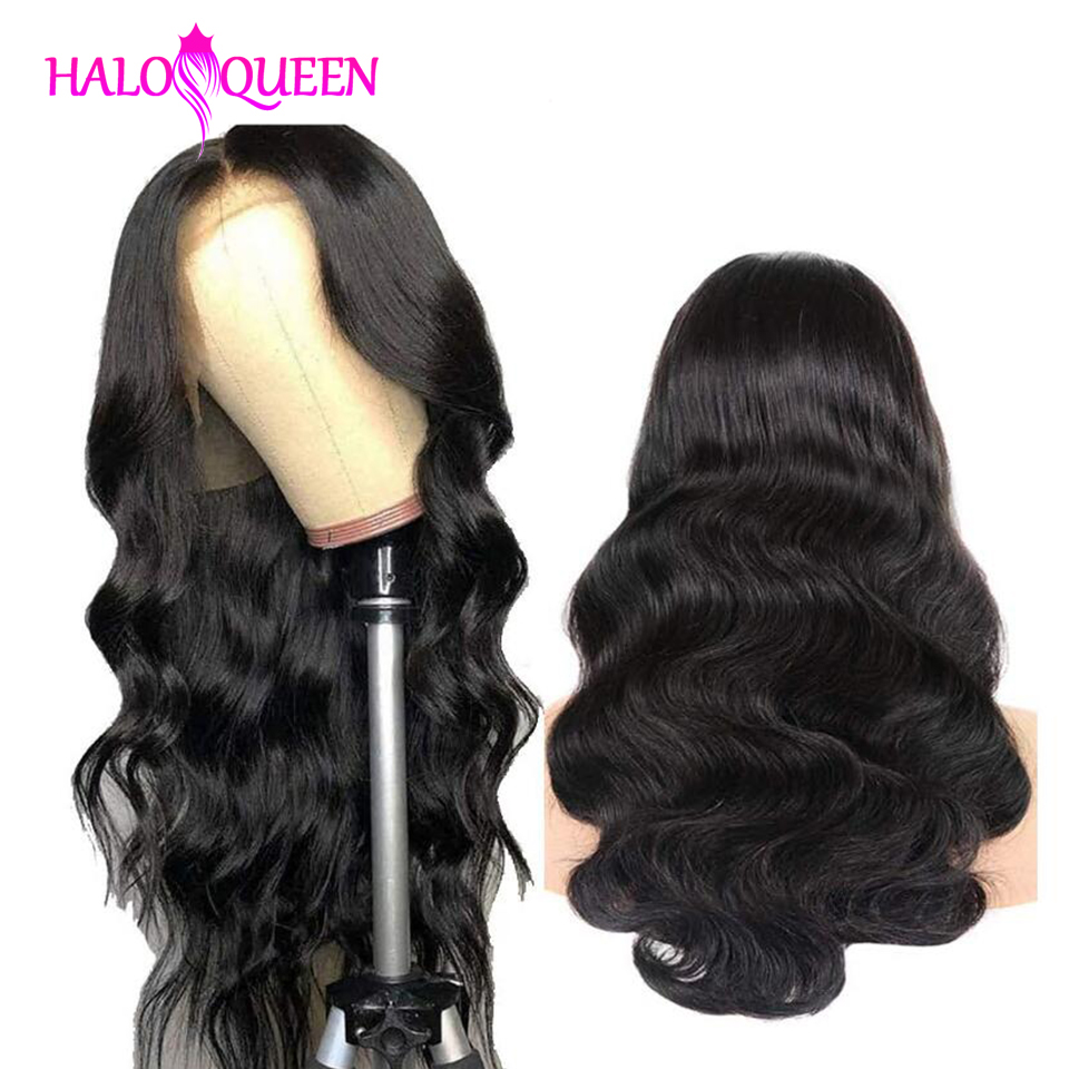 HALOQUEEN Wigs 13X4 Lace Frontal Human Hair Wigs Peruvian Body Wave Pre-Plucked Baby Non-Remy Hair Lace Frontal Human Hair Wigs
