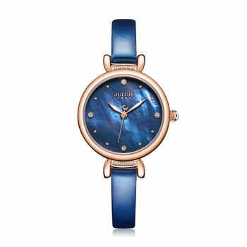 Julius uhr Leder Band Uhr Perle Zifferblatt Luxus Geschenk Uhr Für Frauen Modus Quarz Einfachheit Damen Tägliche Uhr JA-1087