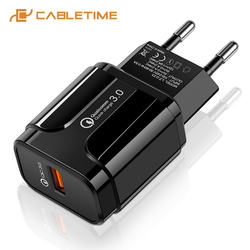 CABLETIME USB Charger PD 18W Fast Charging QC3.0 EU 3A Smart Chip Wall Charger Adapter for iPhone 11 Huawei Xiaomi Phone C310