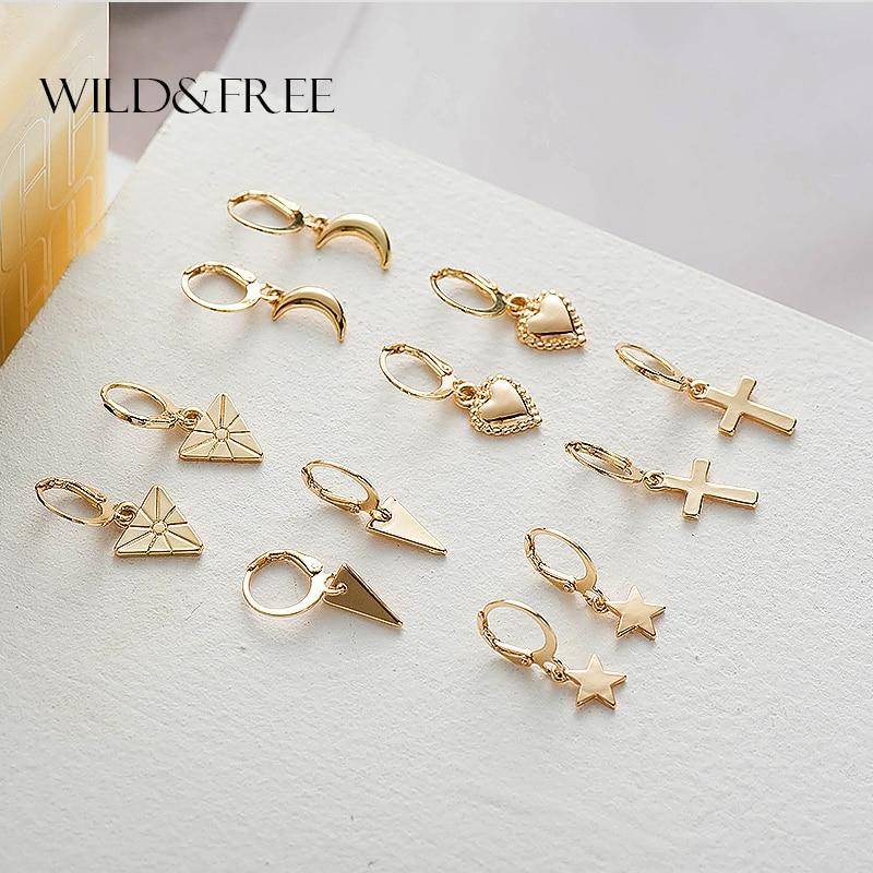 Wild&Free New Tiny Hoop Earrings For Women Girl Gold Cartilage Hoop Earrings Jewelry Heart Cross Star Triangle Charm Earring
