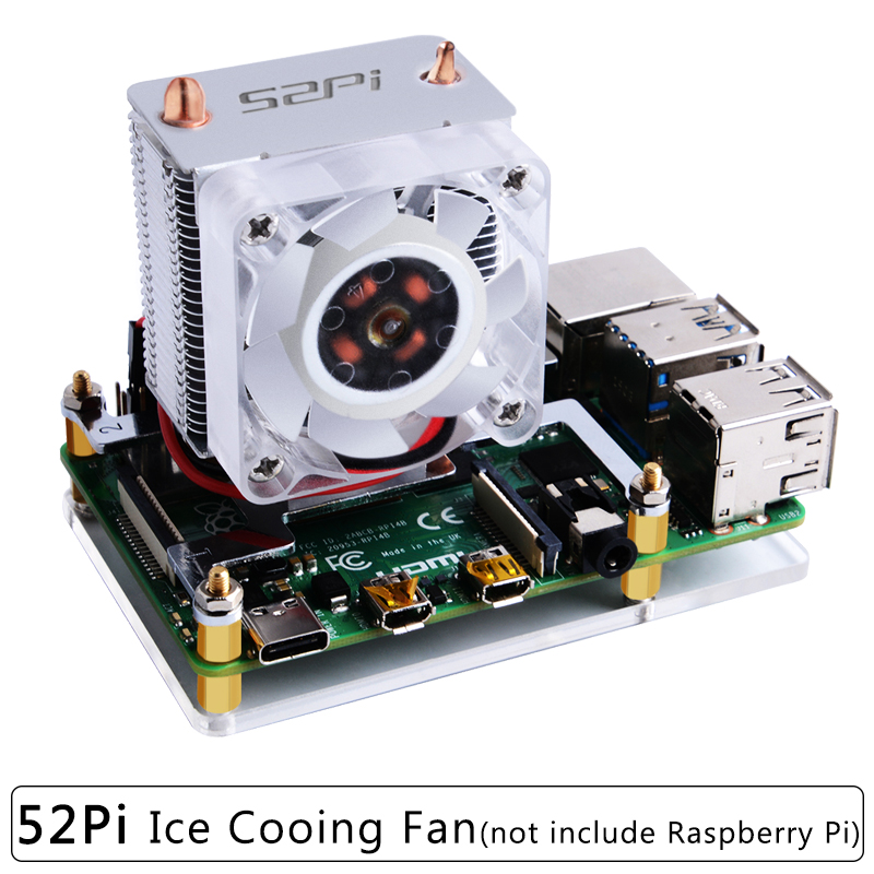 52Pi Original Ice Cooling Tower Fan For Raspberry Pi 4 Model B / 3B+ Copper Tube Cooler With Acrylic Case For Raspberry Pi 4/3
