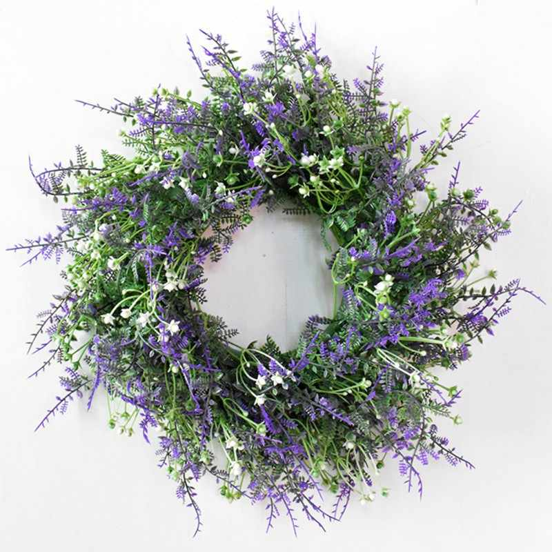 Nordic Style New Year's Garland Christmas Wreath Artificial Plant for Wedding Decoration Door Decoration Pendant Grass Ring