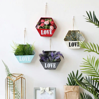 Pastoral Iron Geometric Hanging Flower Pot Holder Nodic Flower Vase Wall Hanging Planter Art Flower Basket Home Decoration 1