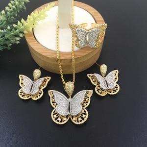 Image 2 - Lanyika Sieraden Set Stereo Graceful Vlinder Luxe Ketting met Oorbellen en Ring voor Engagement Micro Verharde Populaire Geschenken