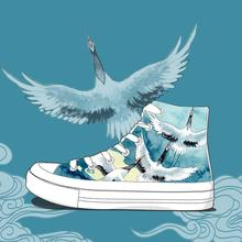 2020 Spring Fashion Hand Painted Shoes Original Design Chinoiserie Crane