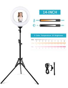 """Image 3 - LED حلقة مصباح 10 """"14"""" 18 """"22"""" عكس الضوء Selfie مصباح مصمم على شكل حلقة 3200 5600K مع حامل ثلاثي القوائم التصوير الفوتوغرافي الإضاءة لفيديو يوتيوب"""