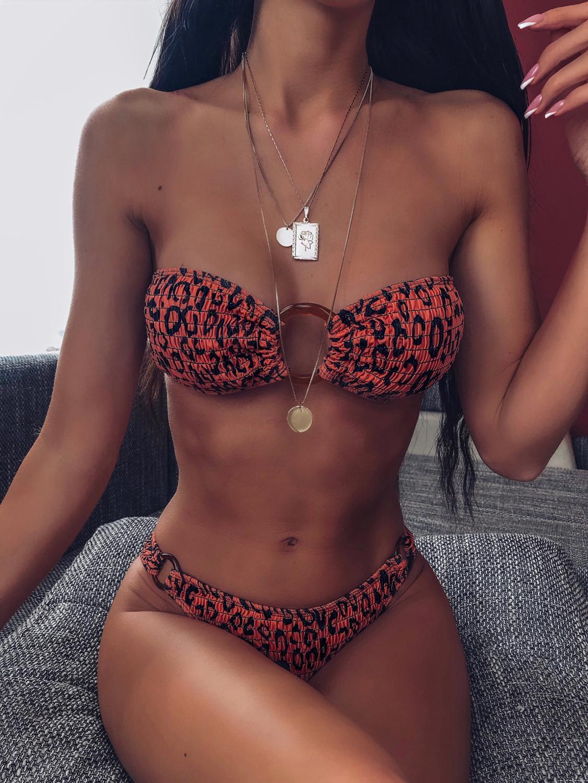 New Bikini Women Low Waist Swimsuit Split Bikini Swimsuit European And American Sexy Chest Ring Bikini Swimsuit Printed Bikini