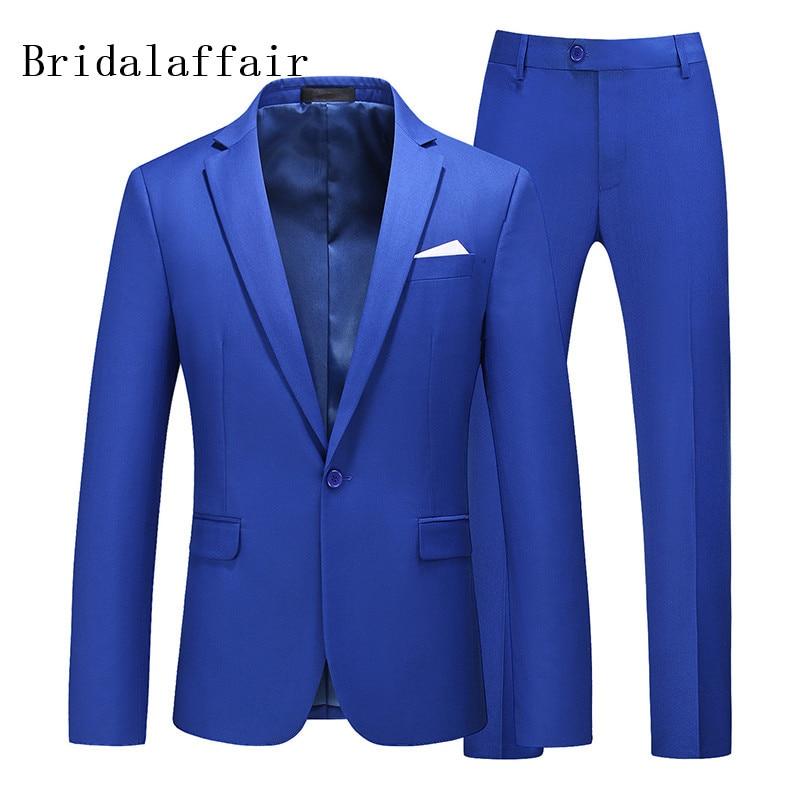 Kuson Mewah Royal Blue Pria Perapi 2 Buah Fashion Boutique Satu Tombol Warna Solid Gaun Pengantin Baru Slim Bisnis Perjamuan Pria Setelan Aliexpress