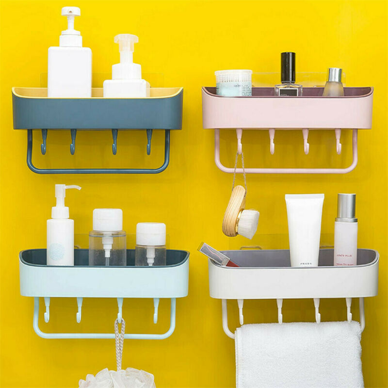 Bathroom Organization Shower Shelf Wall Storage Rack Stick Holder Organiser Tidy Suction Bathroom