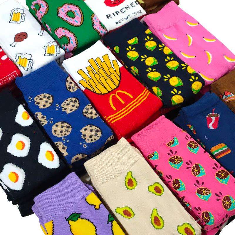 Cute Cartoon Women Fruit Banana Avocado Lemon Egg Cookie Donuts Food Happy Japanese Harajuku Hip Hop Cotton Heap Funny Socks