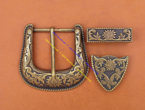 Western Belt Buckle Three Piece Set Antique Brass Floral Design Unisex 1 1/2