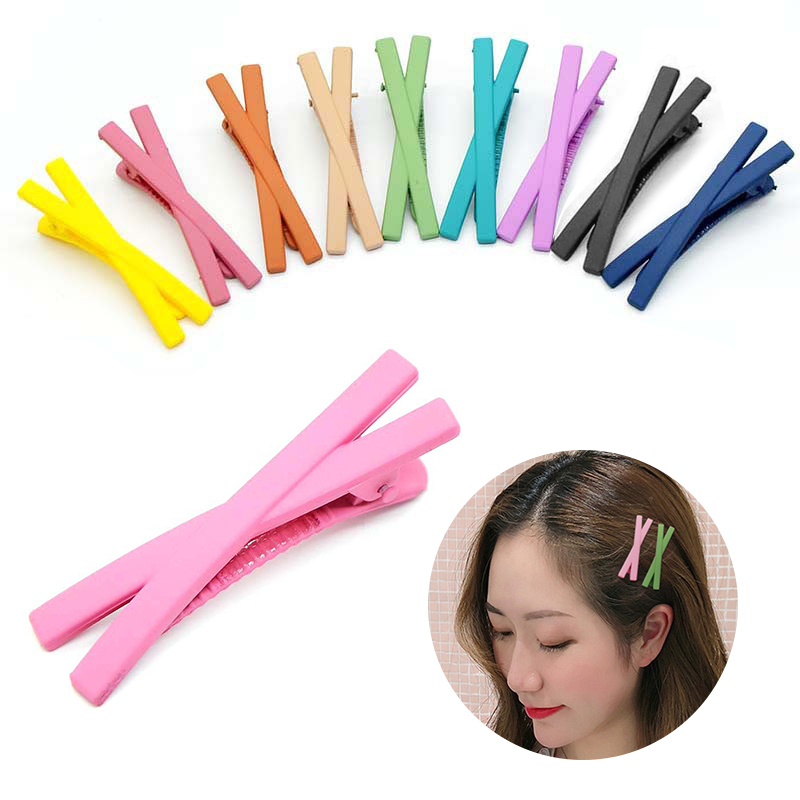 New Fashion Girl Bangs Clip Girl Heart Frosted Cross Clip Hair Clip Candy Color Cross Clip Edge Word Clip Girl Hair Clip Headdre