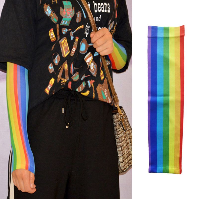 Rainbow Stripe Ice Silk Sun Protection Sleeve Women Men Unisex Arm Cooling Golf Bike Cycling Sleeves Cover LX9E
