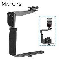 U shaped Flash Bracket Reversible Rotating Holder Adjustable Hot Shoe Mount Adapter Handle Handheld Stabilizer for DSLR Cameras