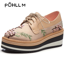 PUHLLM 2019 Spring Korean Flat Shoes Cross Straps Deep Mouth Platform Embroidered Breathable Single Women  A49
