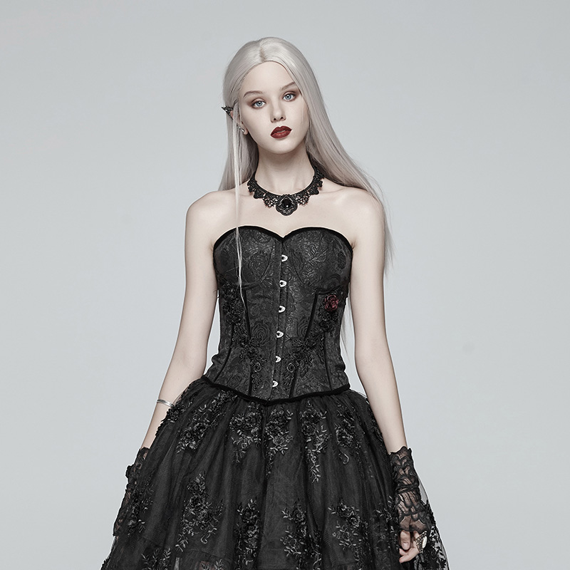 PUNKRAVE Women's Gothic Jacquard Tight Gown Corset Gorgeous Lace-up Strapless Stage Party Bustier