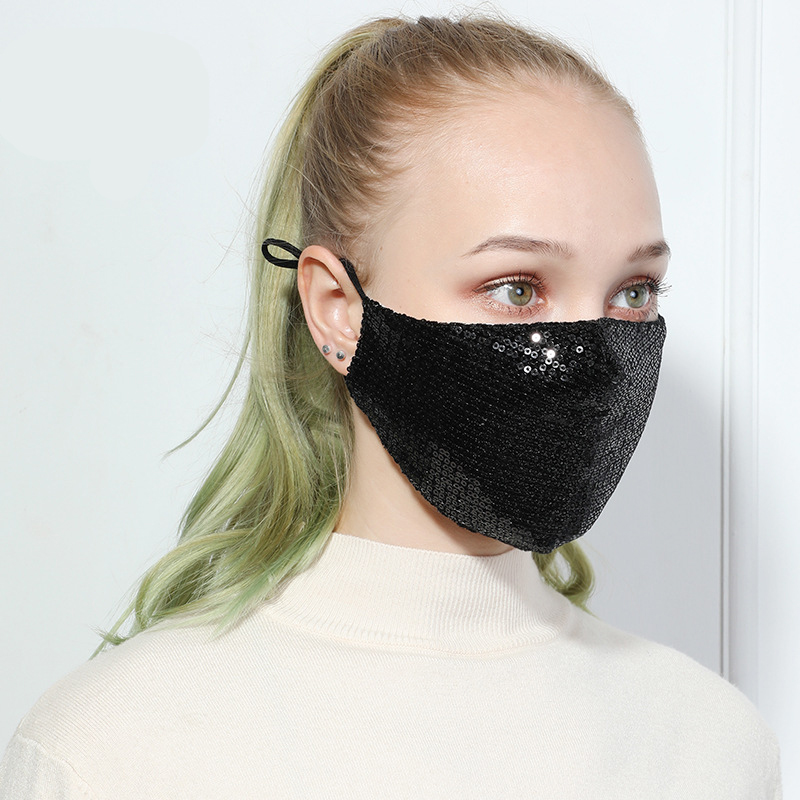 2020 Fashion Sequin Mouth Mask Anti-dust Reusable Bling Shiny Face Masks Cotton Anti-haze Mouth-muffle Face Care Cover Mask