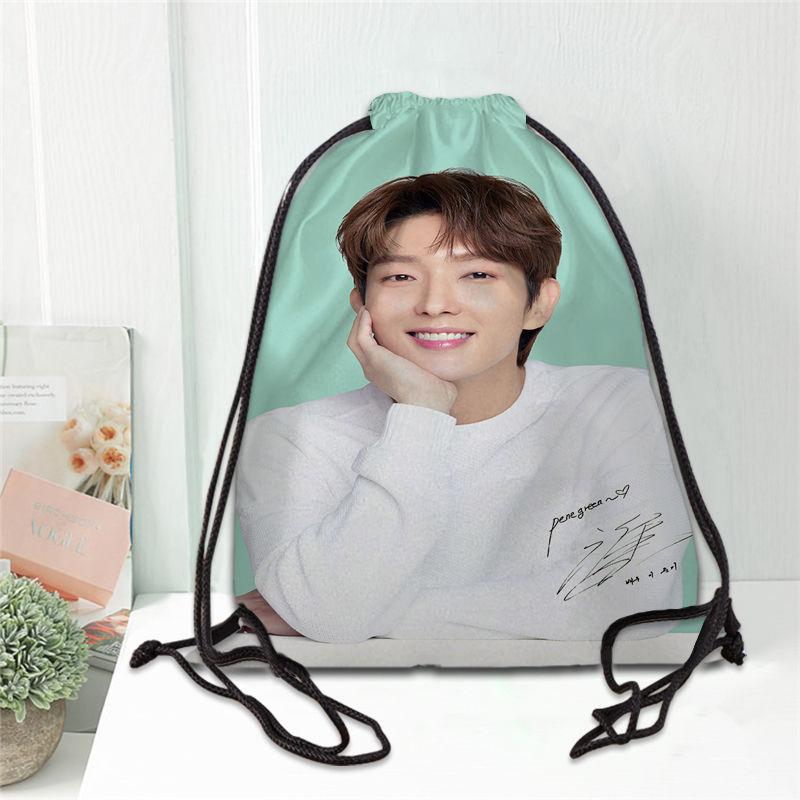 Custom LEE JOON GI Printing Drawstring Backpack Shoe Bag Travel Beach School Multi-function Satin Drawstring Bags