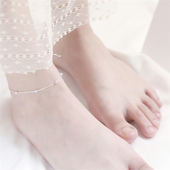 925 Sterling Silver Anklets For Women Transfer Beads Adjustable Foot Anklet Bracelet Leg Chain Foot Jewelry Woman Shoes Luxury 4