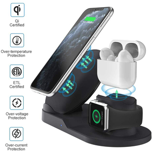 Image 2 - Draadloze Oplader Qi 10W 3 In 1 Wireless Charging Stand Dock Station Voor Airpods Pro Iphone 11 Pro Max xr 8 X Apple Horloge 5 4 3 2
