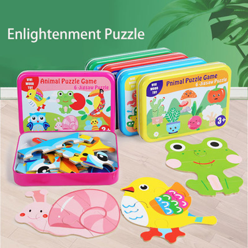Puzzle Children 3D Cartoon Brainstorm Toys Early Educational Development Wooden Puzzle Toys For Boy Girl