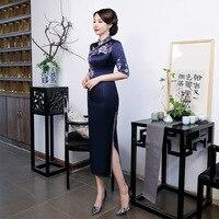 2020 summer new Silk cheongsam cheongsam girl Large size cheongsam gown chinese traditional women qipao embroidery dress