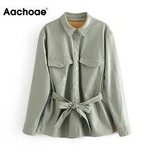 Jacket Coat Outwear Long-Sleeve Faux-Leather Aachoae Women Ladies Fashion Casual
