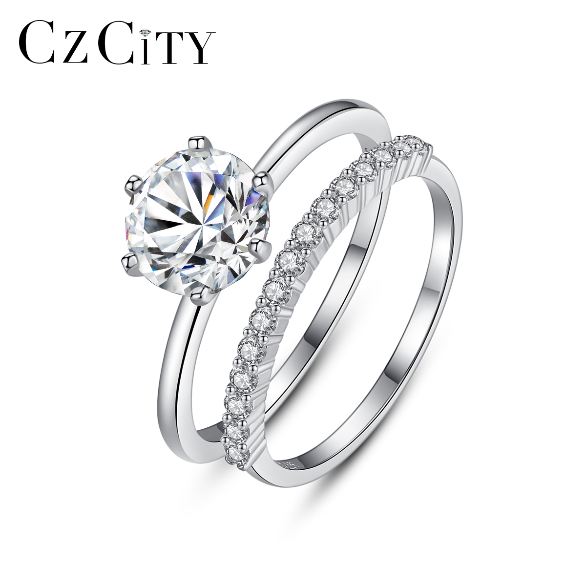 CZCITY Personalized 925 Sterling Silver Stacked Engagement Finger Rings Women Girls Wedding Party Micro CZ Fine Jewelry SR0361