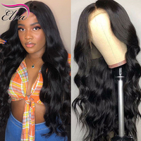 Elva Hair Lace Front Human Hair Wigs For Black Women Pre Plucked Baby Hair Body Wave Lace Front Wig Can Add Elastic Band Remy