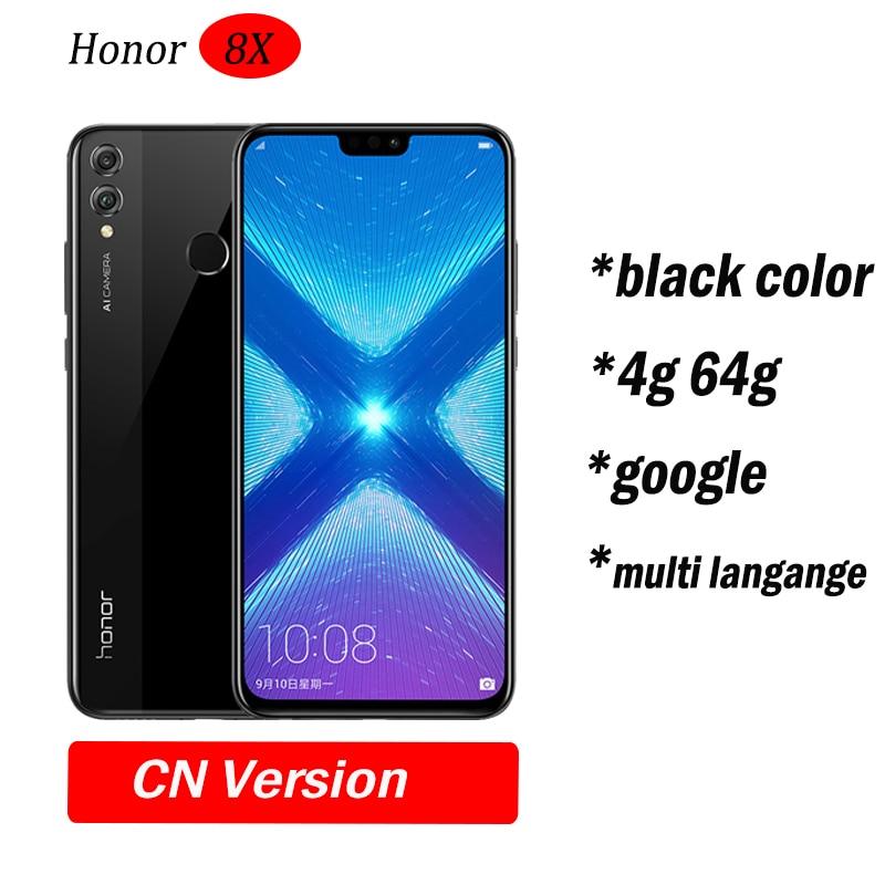 Глобальный Встроенная память Huawe Honor 8X6,5 ''полный экран ОТА обновление смартфон не 8x max мобильного телефона Android 8,1 Восьмиядерный отпечаток пальца ID - Цвет: 4g64 Black