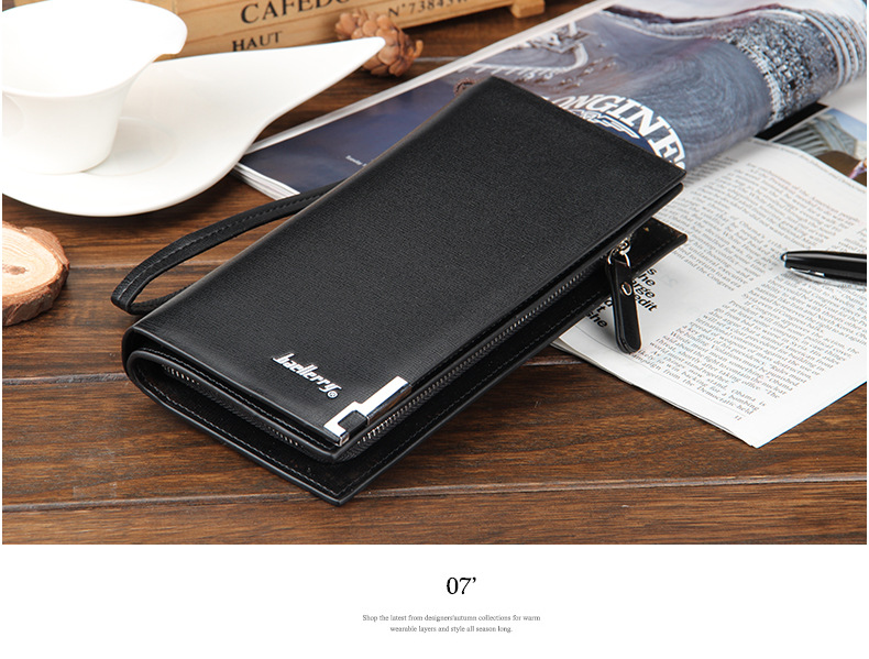 Hc9158a01d93f455eae77619160160da4Y - Baellerry Men Wallets Classic Long Style Card Holder Male Purse Quality Zipper Large Capacity Big Brand Luxury Wallet For Men