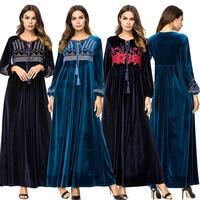 Velvet Abaya Dress Muslim Women Long Sleeve Warm Winter Kaftan Islamic Prayer Long Robe Loose Plus Turkey Dubai Clothing New