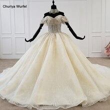 Htl1208 princesa vestido de casamento fora do ombro manga curta applique cristal rendas até voltar branco vestido de casamento novo robe de mariee