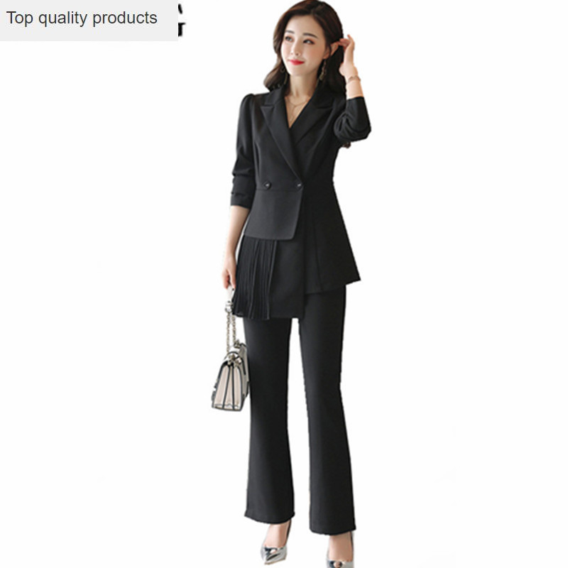 2020 Long Trouser Suit For Women Suits Work Office Lady Pants + Blazer 2 Pieces Set Spring Autumn Clothes Pantsuit Outfits YQ107