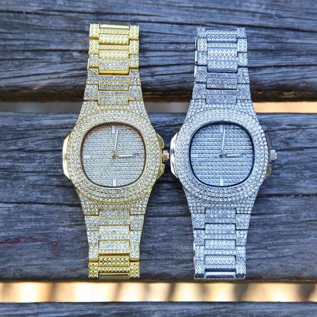 De Hip Hop para hombres pulseras Bling cristal con diamantes Miami de la cadena de oro de Color de plata reloj de los hombres + conjunto de pulsera de lujo de Hip Hop Jewe 4