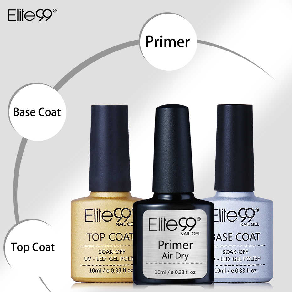 Elite99 Nail Primer, Base trucco di Base di prodotti per superficie e smalti Nessun Wipe top Lucido Polacco Del Gel Rafforzare UV Del Chiodo Del LED Smalto Del Gel Semi- permanente di Base Top
