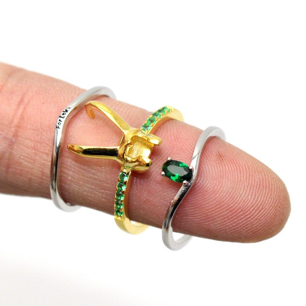 Pierścionki z zielonymi kamieniami Hełm Lokiego