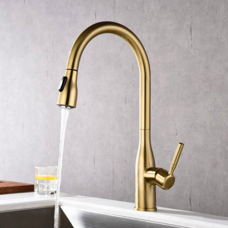 Kitchen Faucet Pull Out Cold And Hot Brushed Gold Torneira Cozinha Black Single Holder Single Hole Sink Faucet Mixer