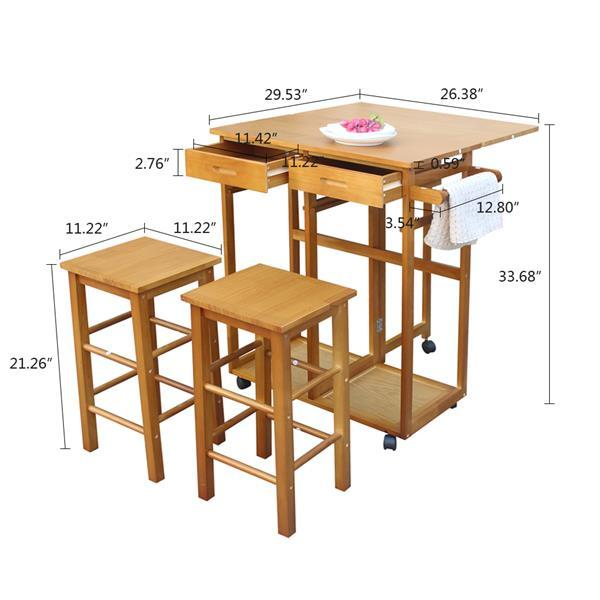 Square Solid Wood Folding Dining Cart with 2 Stools  5