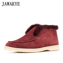 Winter Shoes Snow-Boots Cowboy Nude Open-Walk Real-Fur Women Warm Black Flat Ankle Wool