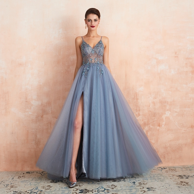 Pink Beaded Prom Dresses Plus Size 2021 Long Elegant See Through A Line Split Tulle V Neck Spaghetti Strap Evening Gown 5