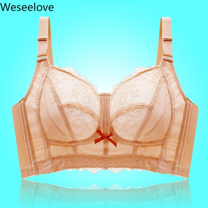 Weseelove Women's Large Size Super Size Bra Sexy Blue Push Up Bra Lace Wirefree Bra Plus Size Beauty Back Underwear Women X53