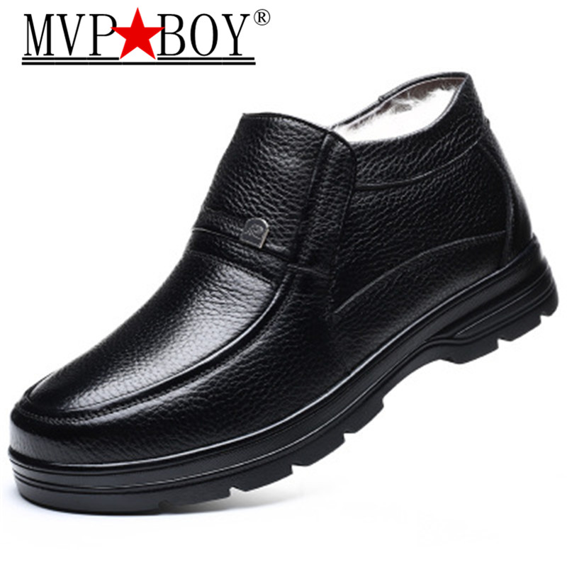 New Fashion Men Work Leather Boots Cold Winter Warm Men Snow Boots PU Leather Shoes Men's Wool Cotton Boots Footwear Black Brown