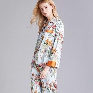 Image 2 - JULYS SONG Faux Silk Satin Pajamas Set 2 Piece Women Spring Flower Plant Printing Long Sleeve Sleepwear Pajamas Suit Home wear