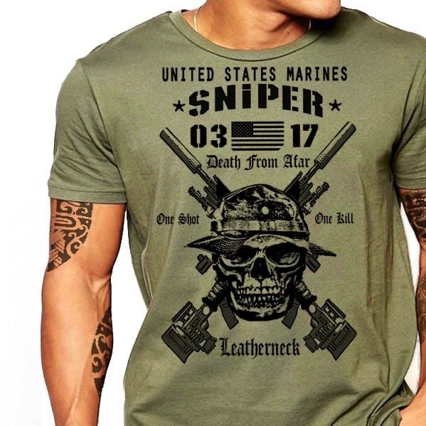 2019 Hot Sale <font><b>Usmc</b></font> Scout Sniper <font><b>T</b></font> <font><b>Shirt</b></font> Us Marines Mos 0317 Combat Arms Men Cotton Tee New 033500 image